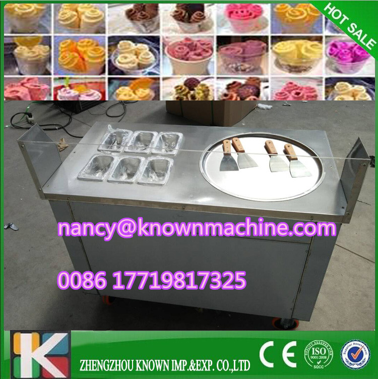 R410A Fried Ice Cream single Pan commercial Ice Cream Roll Machine with 1 pan with 6 salad bowls 220v 110v with arylic screen цена и фото