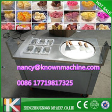 R410A Fried Ice Cream single Pan commercial Ice Cream Roll Machine with 1 pan with 6 salad bowls 220v 110v with arylic screen