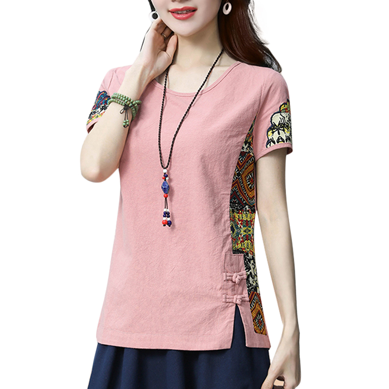 Cotton and Linen Women's 2018 Summer Shirt Loose Short Sleeve Chinese Style Patchwork O Neck Shirt Printed M-3XL 1