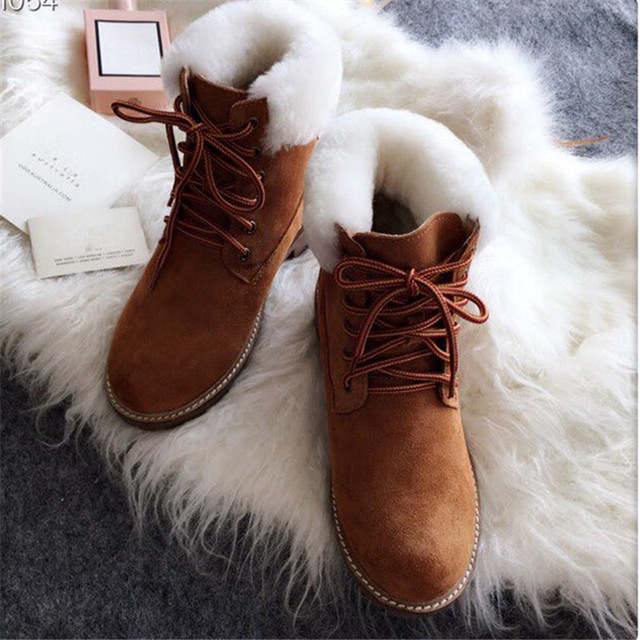 F.N.JACK Fur Ankle Women Boots Winter Non-Slip Cow Suede Plush Snow Boots Female Causal Warm Footwear Snow Boots Woman