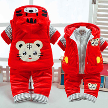 New Autumn & Winter Cute Baby Girl Clothes Add Cotton-Padded Warm 0-1-2 Years Newborn Infant 3Pcs/Set Good Walking Clothing