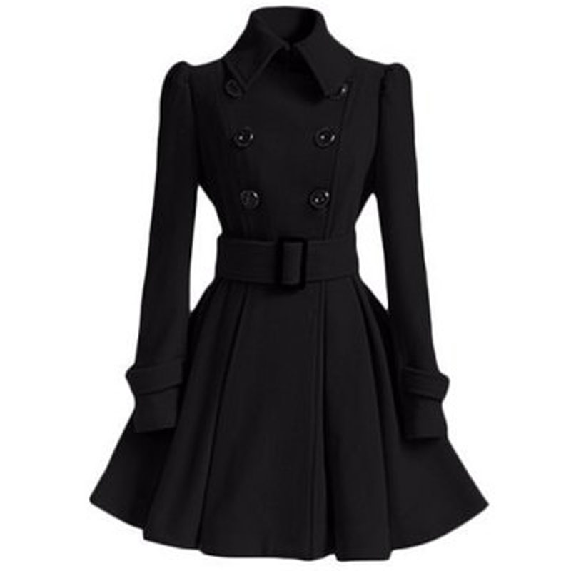 Осенне-зимнее женское пальто, модный тонкий винтажный двубортный пиджак, женский элегантный длинный теплый красный блейзер для женщин - Цвет: Черный