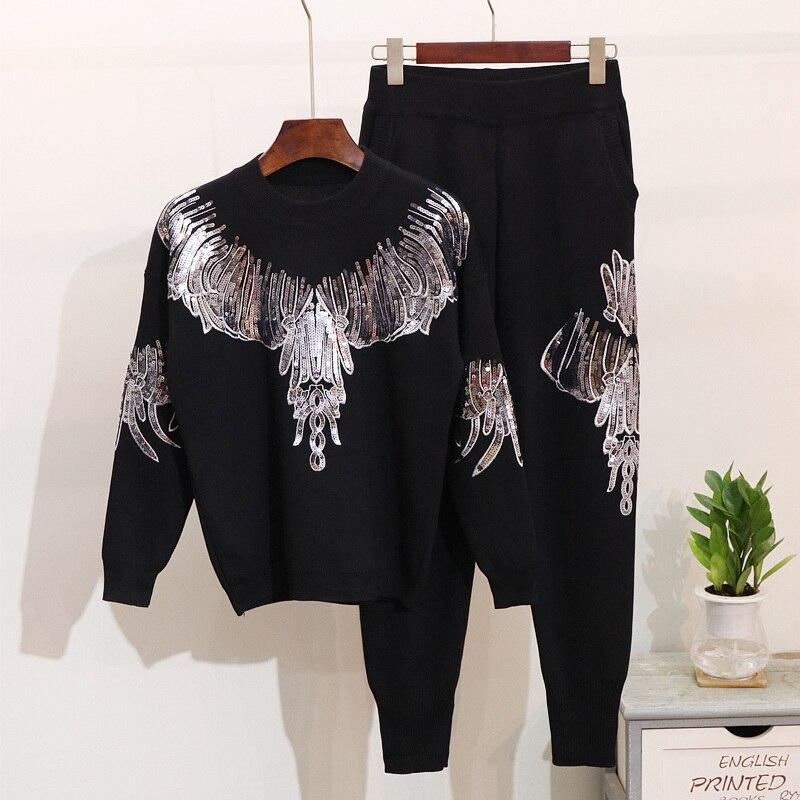 Pièces Pull Broderie gris Deux À Automne Lourd Manches Nouvelle Paillettes Ensembles Femme Hiver Tricoter Noir 2018 Longues Pantalon Costume OZzqZw