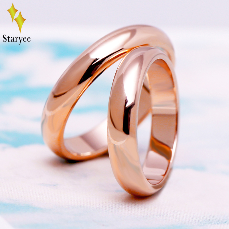 STARYYEE Classic 18K Solid Rose Gold Wedding Rings For Women Men Couple Anniversary Engagement Band Party Fine Jewelry For Bride men wedding band cz rings jewelry silver color anillos bague aneis ringen promise couple engagement rings for women