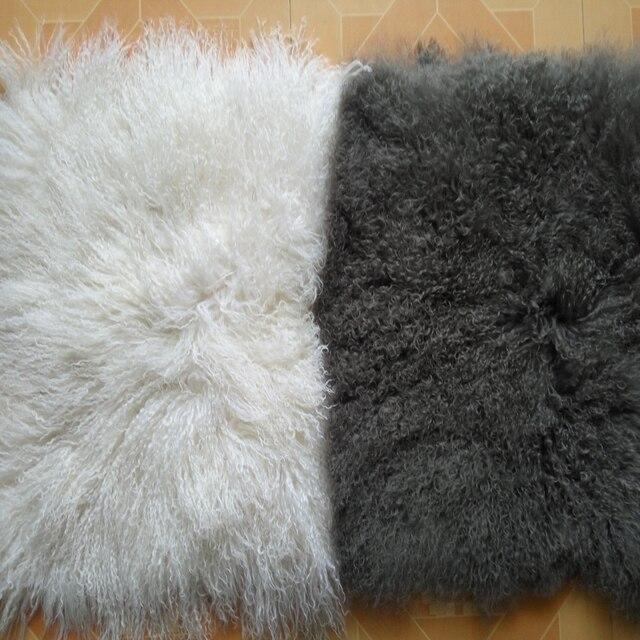 2016 gris et blanc agneau de mongolie fourrure oreiller housse de coussin decoratif couvre pour canape