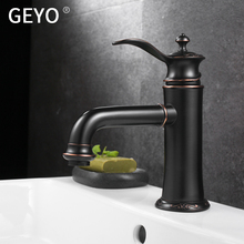 GEYO Antique Copper Bathroom Faucets Basin Faucets Brass Oil Rubbed Bronze Black Faucet Bathroom Shower Hot Cold Mixer Water Tap кофеварка russell hobbs 20681 56 legacy coffee polished черный