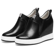 Punk Trainers Women Oxfords Shoes Genuine Leather Wedges High Heel Ankle Boots Slip On Low Top Party Platform Pumps Tennis