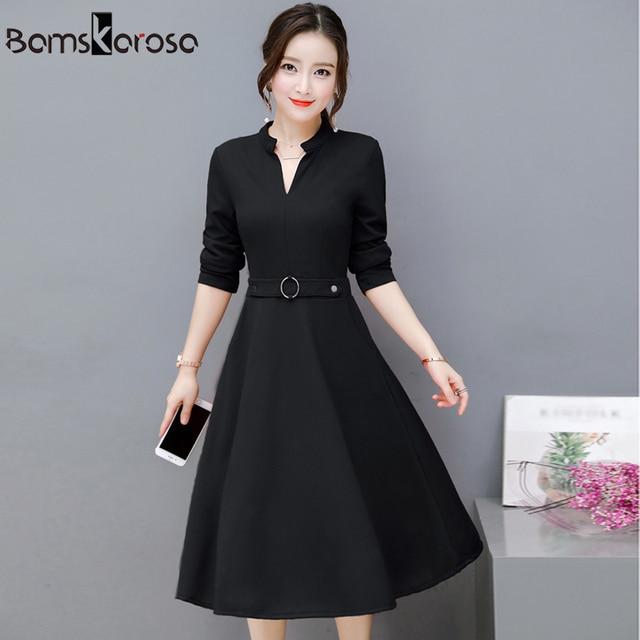 54911a45805 Элегантное праздничное платье женское 2018 осень новое офисное платье Черное  Красное зеленое с длинным рукавом v