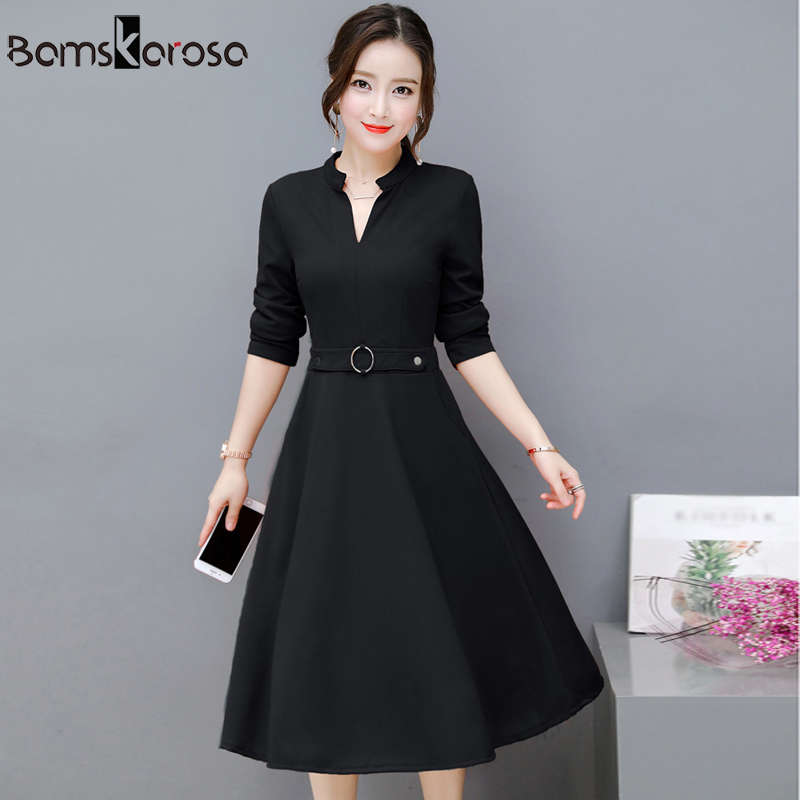 Elegant Party Dress Women 2018 Autumn New Offic work Dress Black Red Green Long Sleeve V Neck Vintage Slim Ladies Dresses