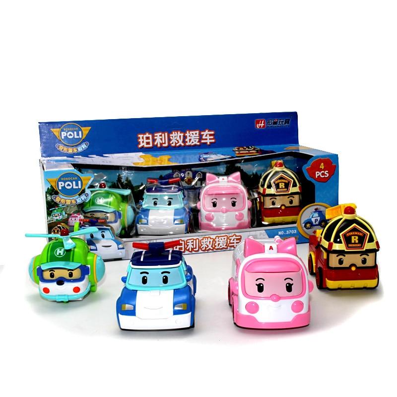 4pcs Original Boy Poli Robocar Poli Inertial Car Korea Kids Toys Transformation Anime Action Figure Toys For Children Playmobil