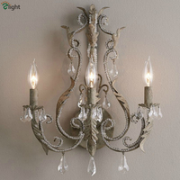 French Antique Finish Metal Led Wall Lamp Lustre Crystal Bedroom Led Wall Lights Loft Led Wall Light Fixtures Foyer Wall Sconce