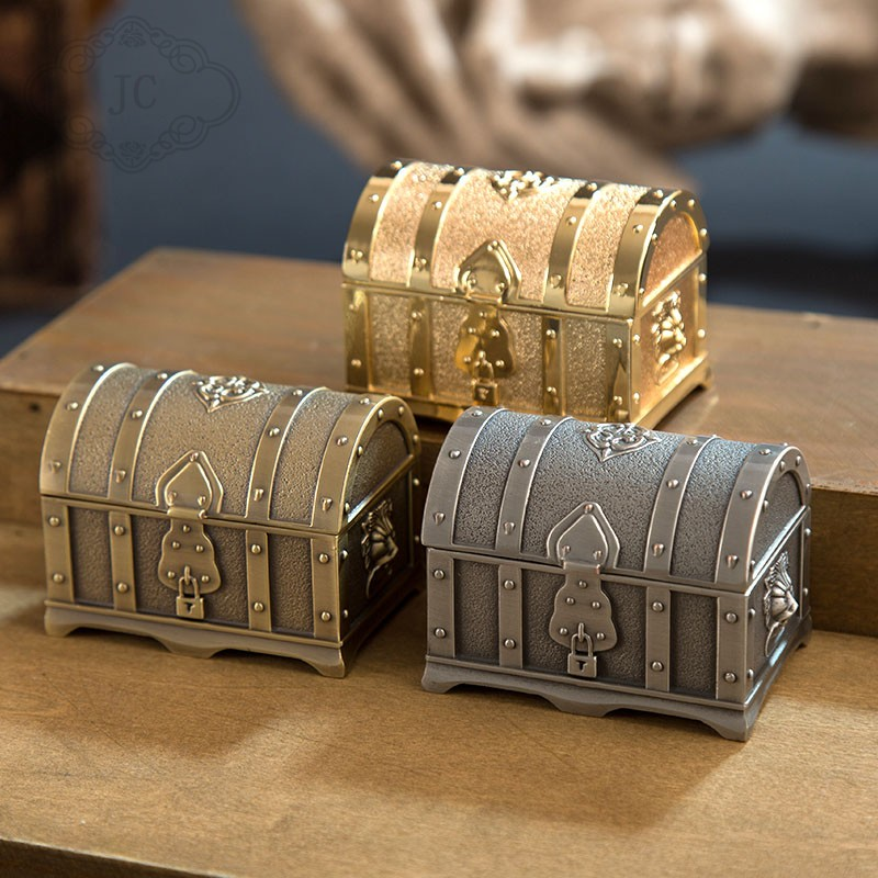 Storage-Case Jewelry-Box Table-Organizer Metal-Crafts Treasure Chest Small-Size Europe