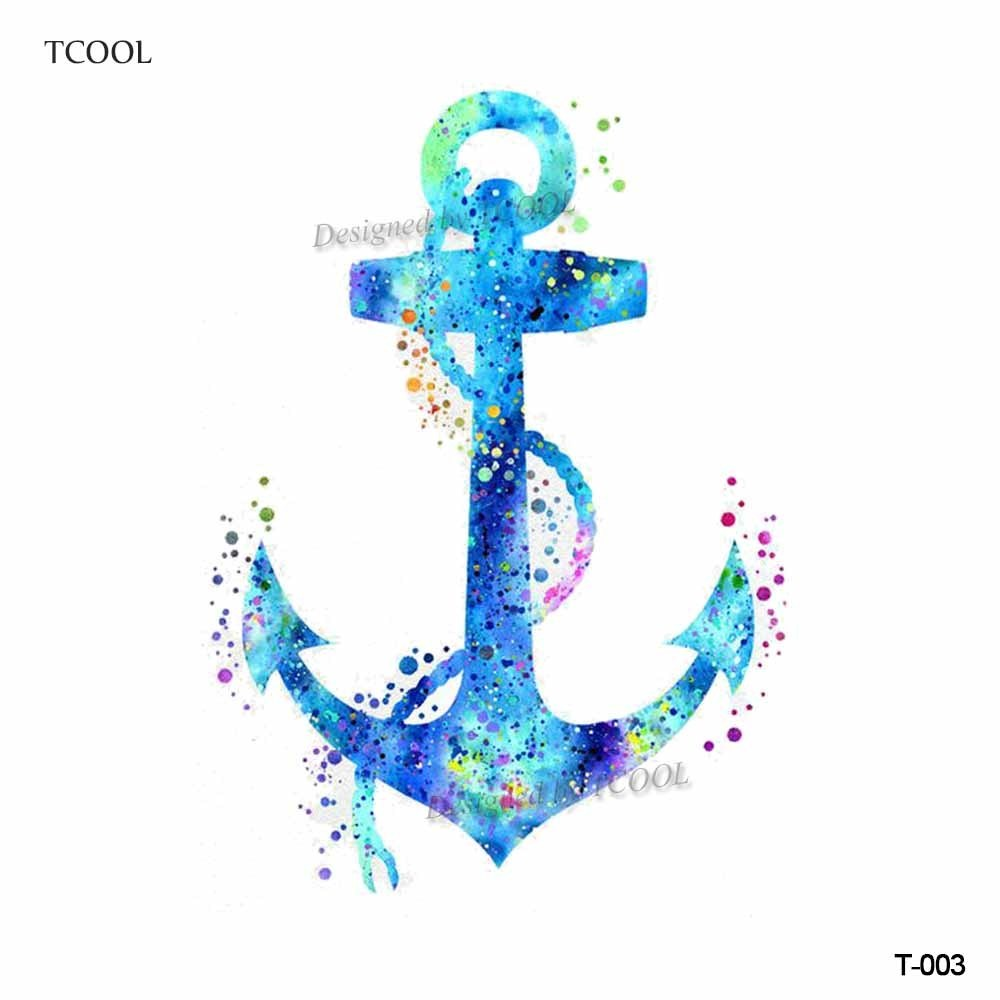 HXMAN Colorful Anchor Women Temporary Tattoo Sticker Waterproof Fashion Fake Body Art Tattoos 9.8X6cm Kids Hand Tatoo T-003