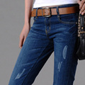 2016 New jeans Women Fashion Jeans Slim Holes Ripped Casual Ladies Long Jeans Sexy Skinny solid Pencil Pants Plus size