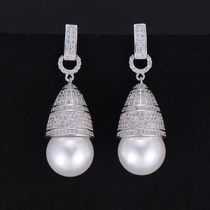 Image 1 - GODKI 45mm luxe Imitation perle cubique zircone CZ fiançailles femmes fête de mariage discothèque Statment boucle doreille