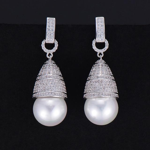 GODKI 45mm luxe Imitation perle cubique zircone CZ fiançailles femmes fête de mariage discothèque Statment boucle doreille