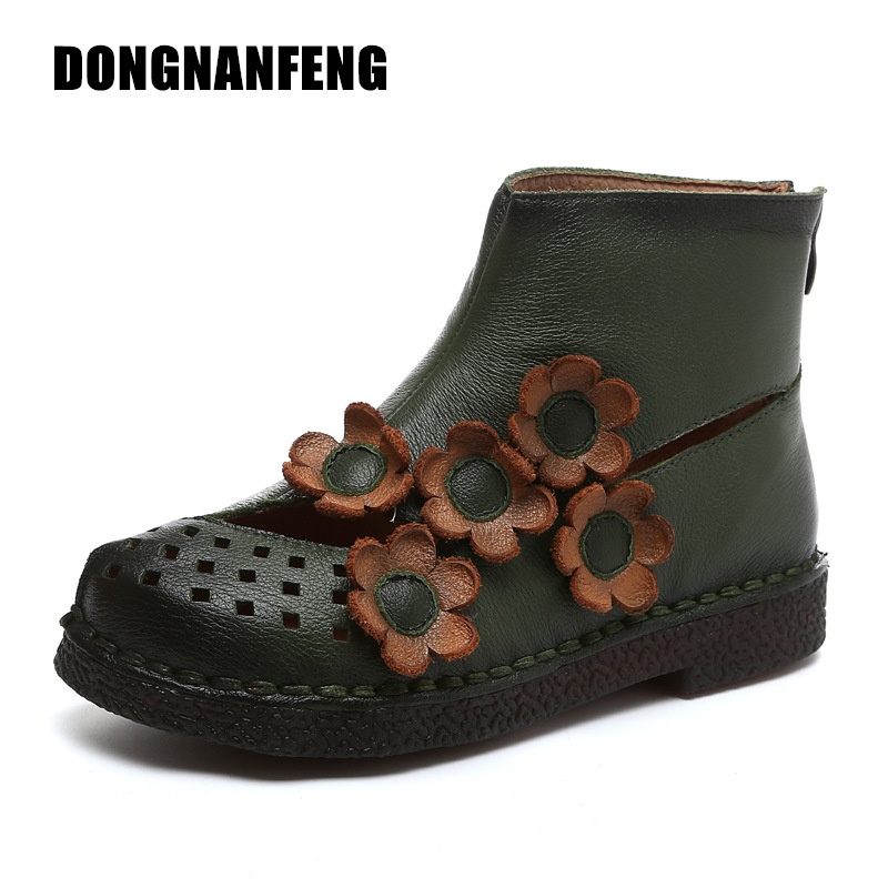 DONGNANFENG Women Shoes New Mother Old Vintage Boots Cow Genuine Leather Pigskin Slip On Ankle Flower Floral Size 35-40 YD-A922