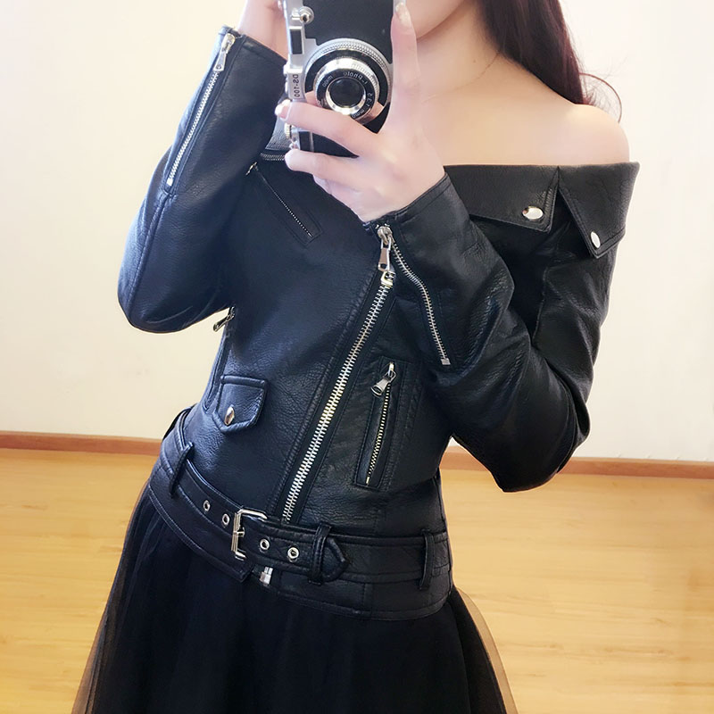 2017 New Arrival Sexy Off Shoulder Black Leather Jacket -4563