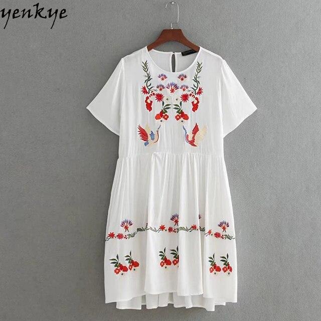 dea23577d5 Lato Kobiet Kwiatowy Haft Biała Sukienka O Neck Krótki Rękaw Plus Rozmiar  Casual Dress Marka vestido