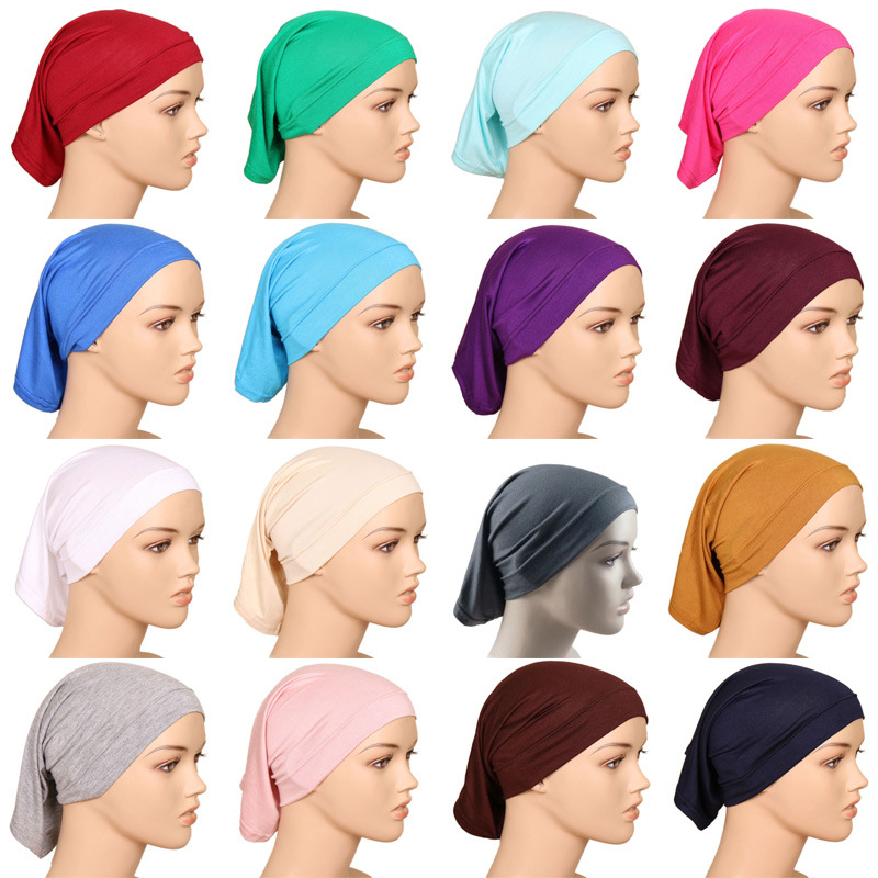 Islamic Clothing New Women Hijab Under Scarf Tube Hair Bonnet Cap Bone Islamic Head Cover Many Colors Pe5454