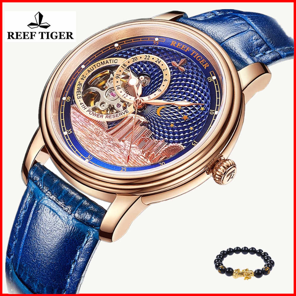 Reef Tiger/RT Top Brand Luxury Watches Mens Rose Gold Blue Mechanical Watch Tourbillon Fashion Watch 2019 Clock Relojio feminino