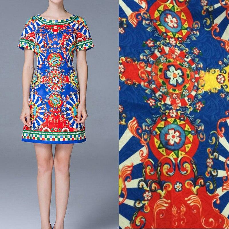 Polyester tissu de robe de jacquard, sicile style moulin à vent épais imprimé tissu jacquard, mode femmes robe polyester tissu
