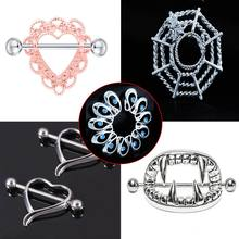 1pcs Sexy Surgical Steel Heart/Flower Body Nipple Bar Barbell Piercing Shield Rings Rushed Ear Plugs Fake Piercing Body Jewelry(China)