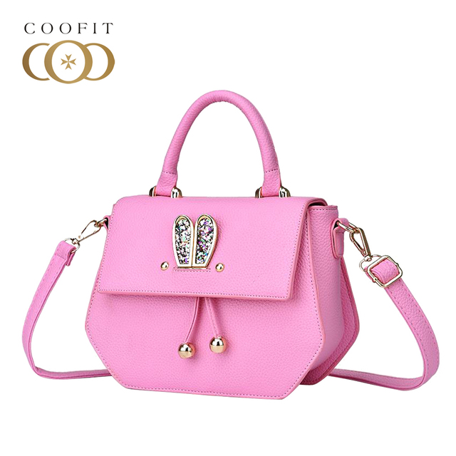 Coofit Casual Women s Handbag With Glitter Bunny Ears PU Leather Crossbody  Bags Fashion Lady Girls Rivet Shoulder Bag for Women 17e0d49636d4c