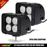 2pcs Free Shipping 4 5 INCH 40W Pencil Beam 10Degree LED WORK LIGHT BAR FOR TRUCKS