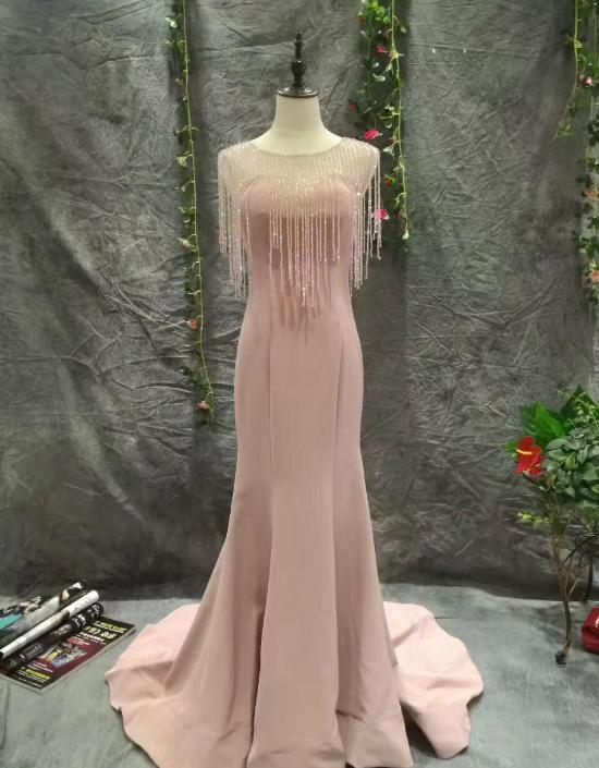 VENSANAC 2018 Illusion O Neck Crystal Mermaid Long Evening Dresses Vintage Party Tassel Sweep Train Prom Gowns in Evening Dresses from Weddings Events