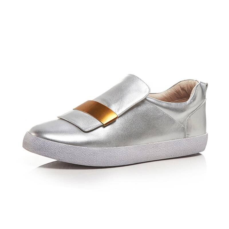 Zapatillas de deporte de decoración de metal de diseño conciso de maceta de cuero genuino cómodos mocasines de uso diario zapatos vulcanizados L66-in Zapatos vulcanizados de mujer from zapatos    2