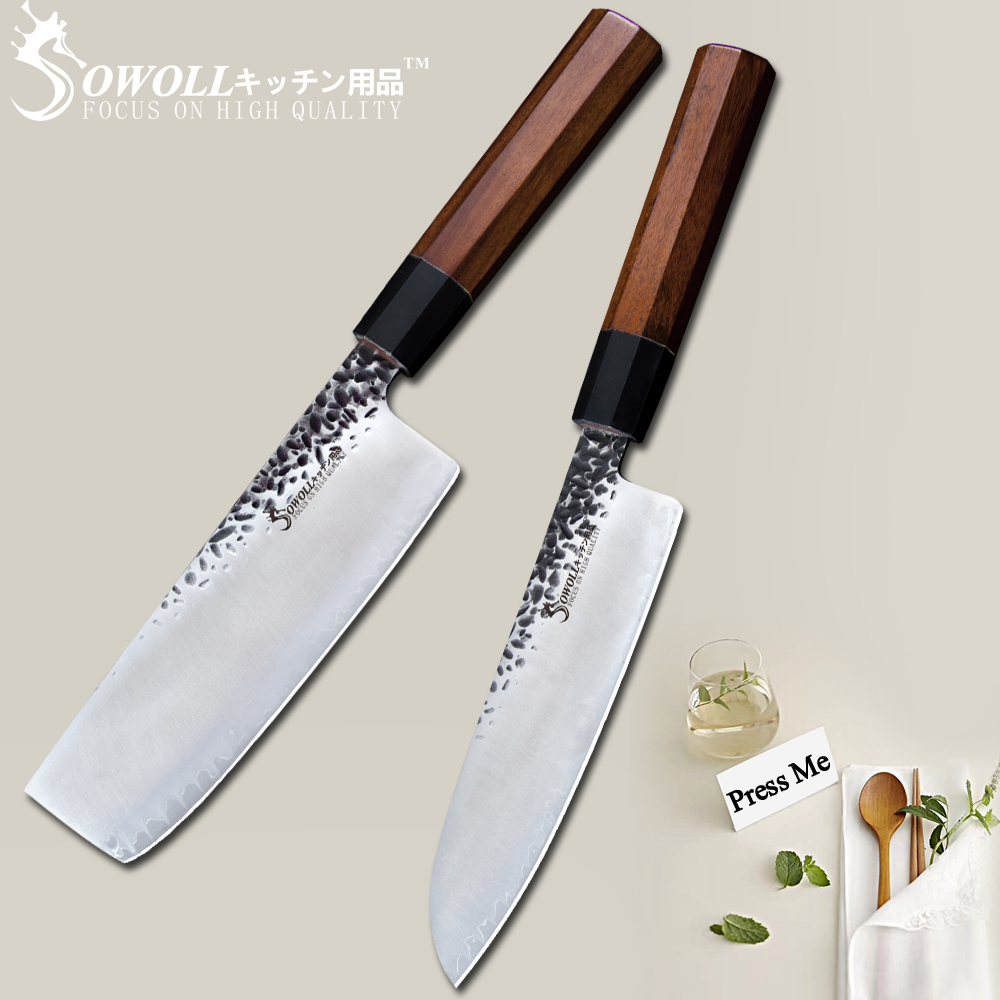 SOWOLL Handmade Damascus Kitchen Knife Forged High Carbon Clad Steel Chopping Japanese Cook s Knife Nakiri