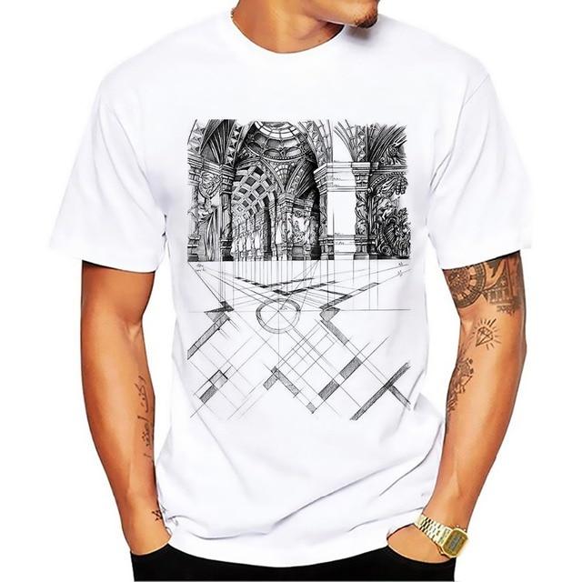 31a1291406b Eiffel Tower Engineering drawings tshirt men Classic white casual short  sleeve T-shirt homme Church design Manuscript t shirt