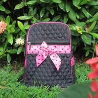 Free Shipping Solid Zippered Quilted Backpack With Personalization Or Monogram School Book Bag With Bow Tie