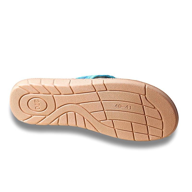 Summer Women Linen Slippers Flower Ribbon Sandals Flat Eva Non slip Linen Slides Home Flip Flop Health Straw Lady New Beach Shoe in Flip Flops from Shoes