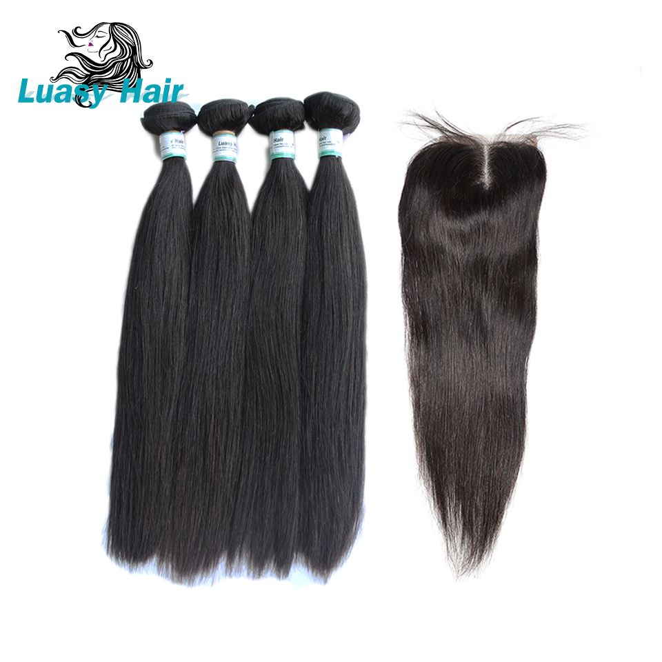 Luasy Brazilian Straight Hair 4 Bundles With Lace Closure 100% Remy Human Hair Bundles With Closure Total 5Pcs/Lot Free Shipping-in 3/4 Bundles with Closure from Hair Extensions & Wigs    1
