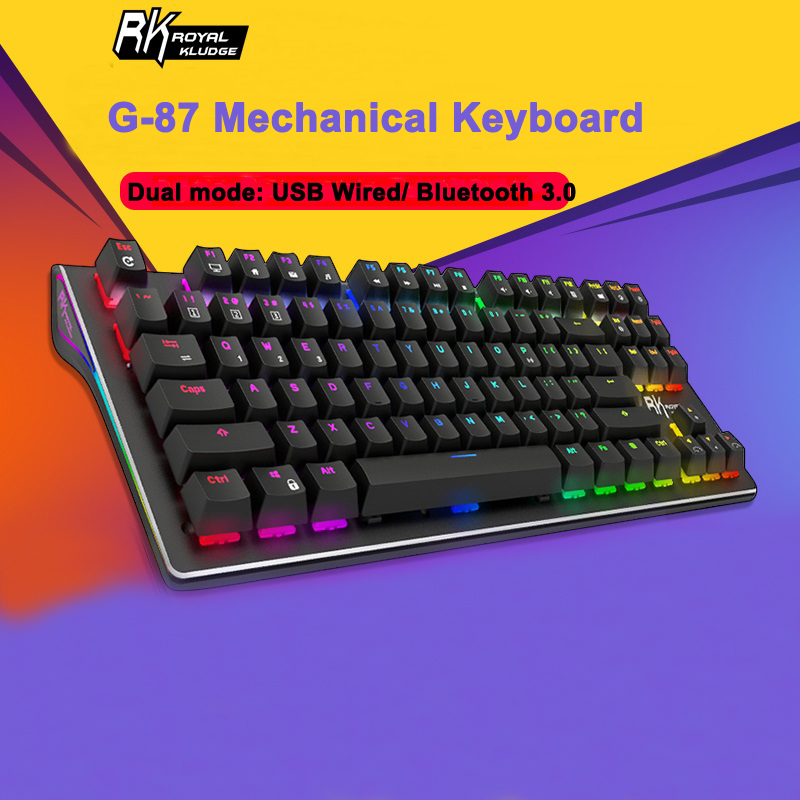Royal Kludge RK G-87 87keys Wireless Bluetooth 3.0 USB Wired Dual Mode Mechanical Gaming Keyboard Brown Switch - Brown Switch