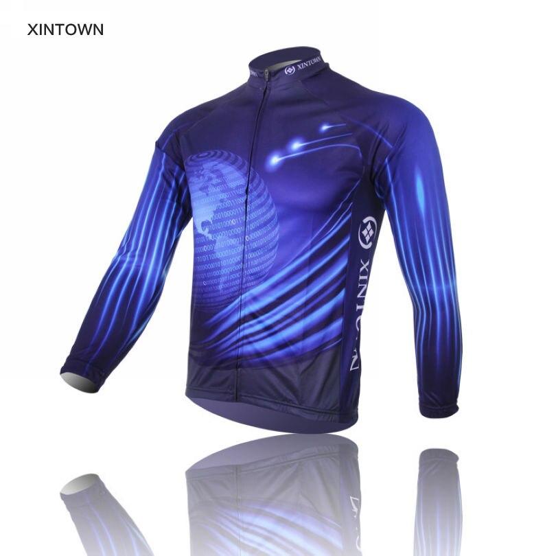 Цена за 2017 XINTOWN Команда Pro Синий Свет Велоспорт Трикотажные Изделия Велосипед Спортивная Одежда Велосипедов С Длинным рукавом джерси Топ Дышащий S 4XL