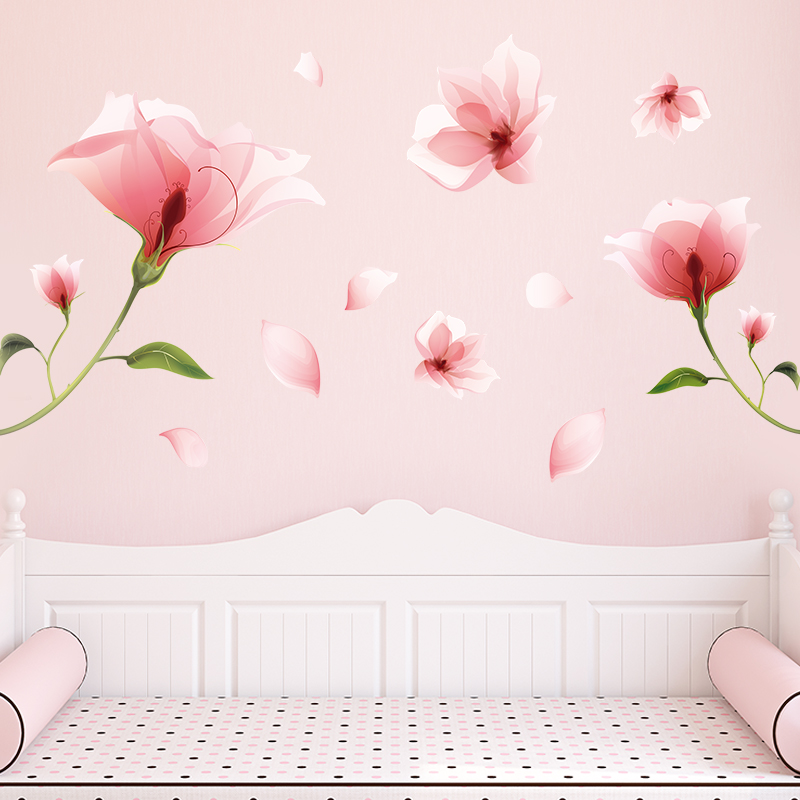 shijuekongjian Pink Color Flowers Wall Stickers DIY Plant Wall Decals for Dormitory Living Room Kids Bedroom Decoration in Wall Stickers from Home Garden
