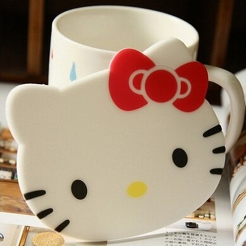 Hello Kitty Kitchen Accessories: 4PCS/Lot Hello Kitty Silicone Mat Coasters Cute Round