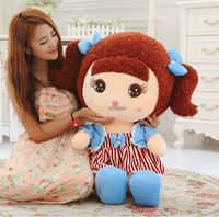 Fancytrader 90cm Lovely Stuffed Girl Toy with Curved Hair. Jumbo Princess Plush Doll in Beautiful Dress Blue Pink Free Shipping