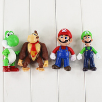 4pcs Lot 12cm Super Mario Yoshi Luigi Mario Donkey Kong PVC Figure Toy Model Dolls Free