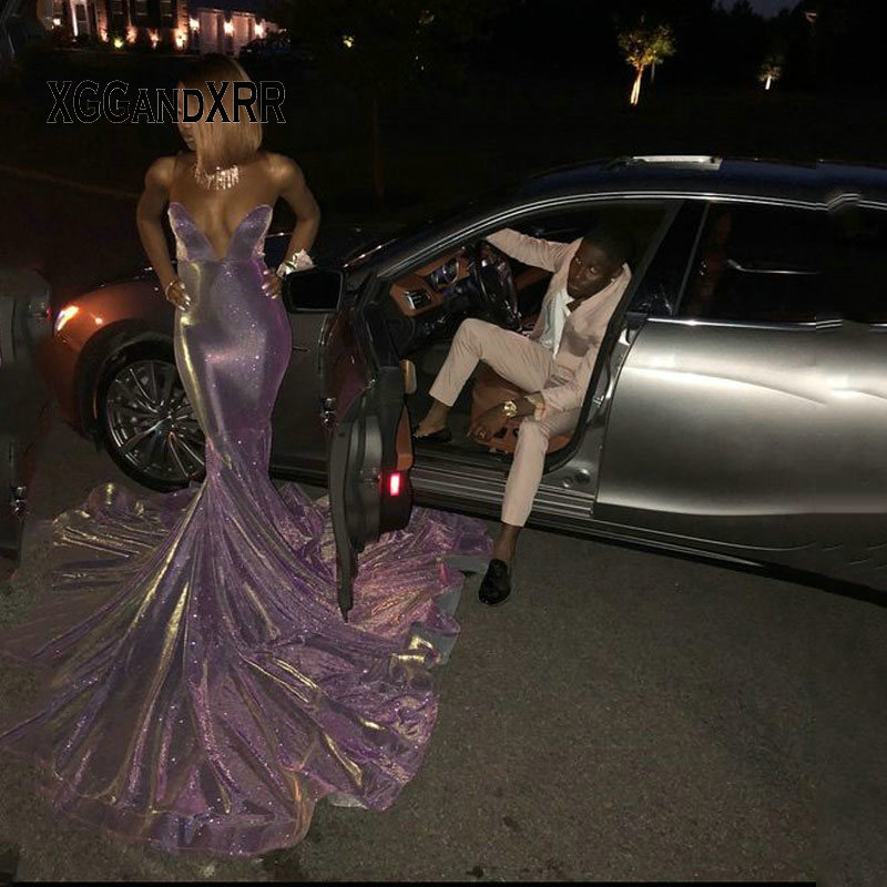 Paillettes longues sirène noir fille robes de bal 2019 épaule dénudée Court Train violet africain soirée formelle robe Gala - 2