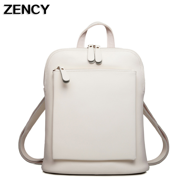 ZENCY Famous Luxury Brand Genuine Oil Wax Cowhide Second Layer Cow Leather Backpacks Women Girls Real Leather School Backpack zency genuine leather backpacks female girls women backpack top layer cowhide school bag gray black pink purple black color