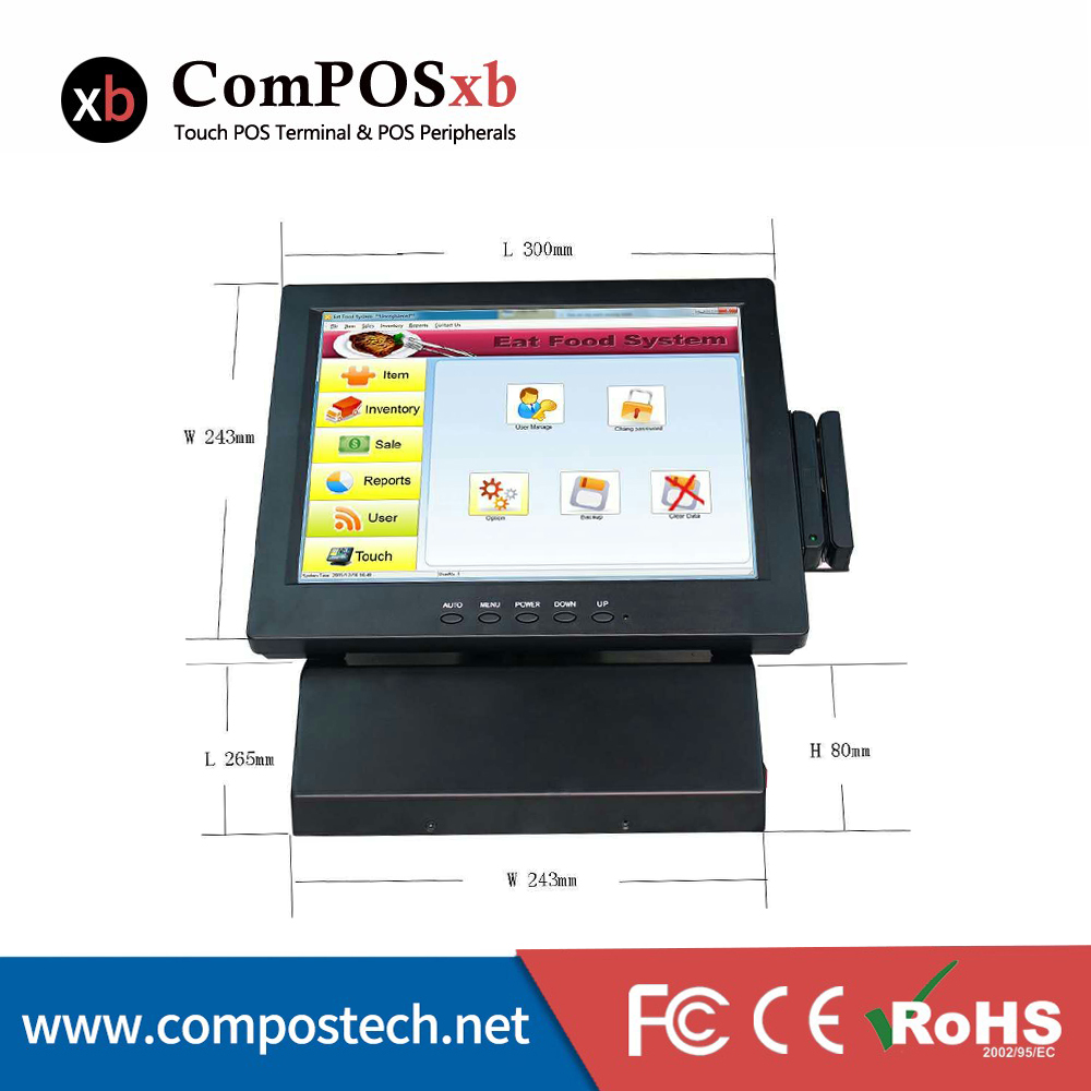 ComPOSxb POS System 12 Inch Touch Screen Monitor In Restaurant Cash Register/All In One PC For Retail Shop izp008 pos billing system 15 6 inch capacitive touch screen all in one pos machine cash register for restaurant drink shop