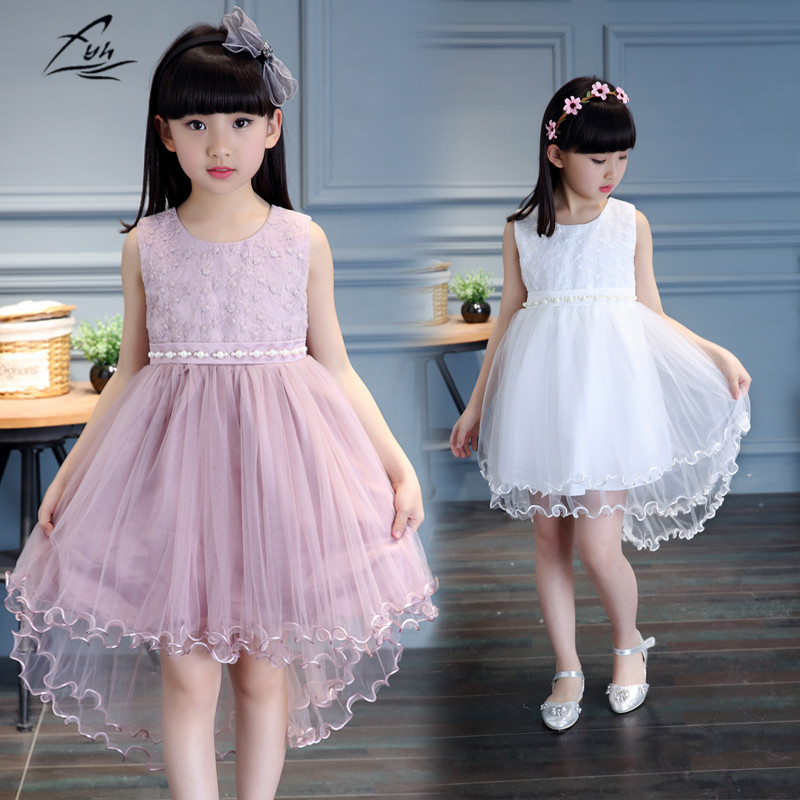 2017 Girls Clothing Baby Girls' Princess Dress Elegant Lace Fashion Sleeveless Summer Dress Dovetail Design for Height 100-160cm