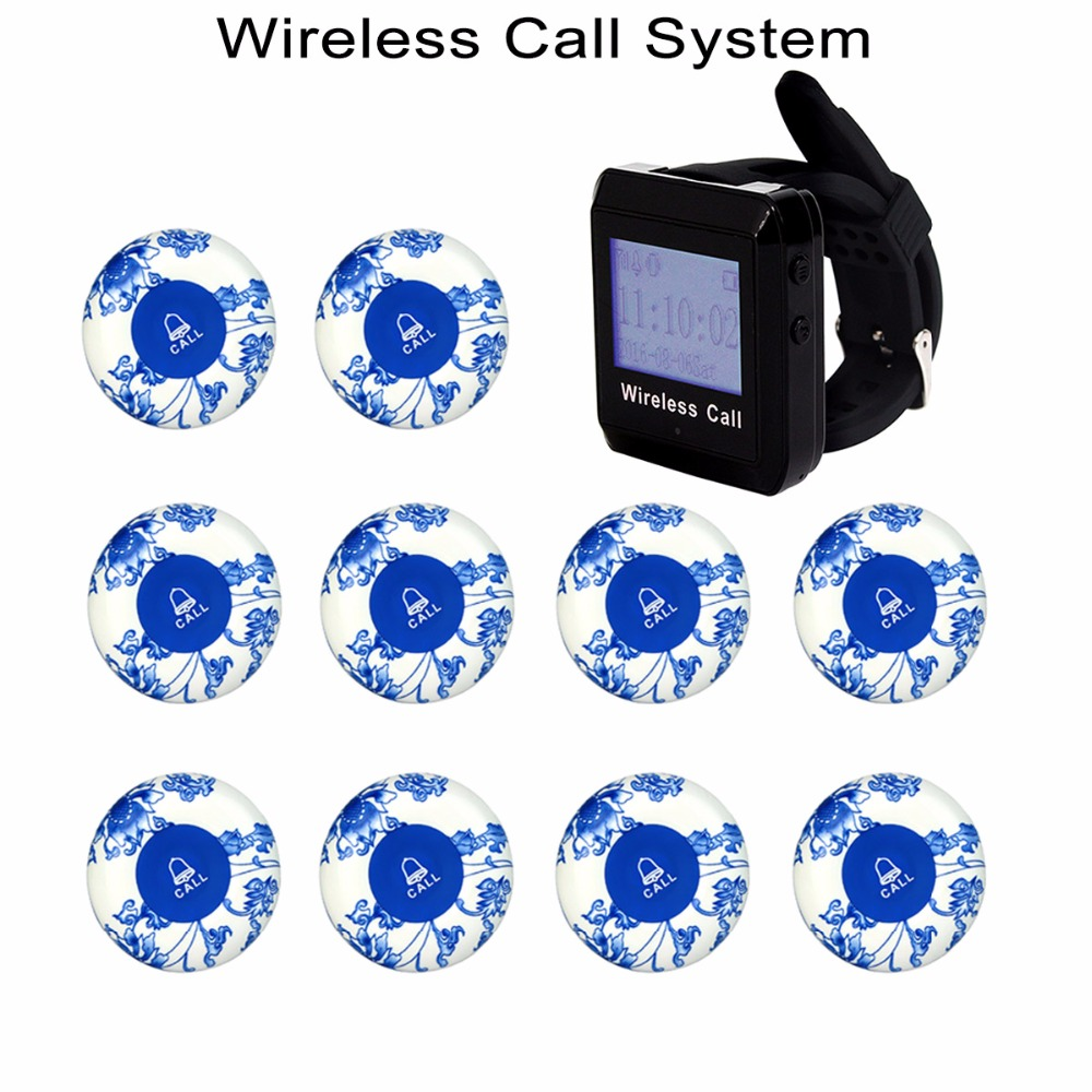 Wireless Restaurant Call Paging System 1 Wrist Receiver+ 10pcs Ceramics Call Transmitter Button 433MHz F3258