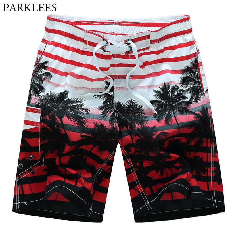 Mens Striped Beach   Shorts   3D Palm Tree Print   Board     Shorts   Trunks 2018 Summer Casual Quick Dry Drawstring Mesh Hawaiian Beachwear