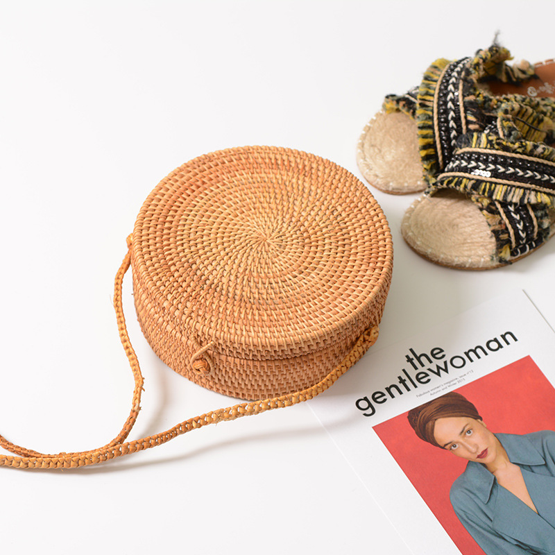 Round Straw Bags Women Handbag Summer Woven Handmade Messenger Bags Behomian Rattan Bag Beach Ladies Crossbody Wicker Bag W429 women bohemian straw bags ladies small beach weave handbag tote handmade summer wicker basket ribbons rattan holiday travel ins