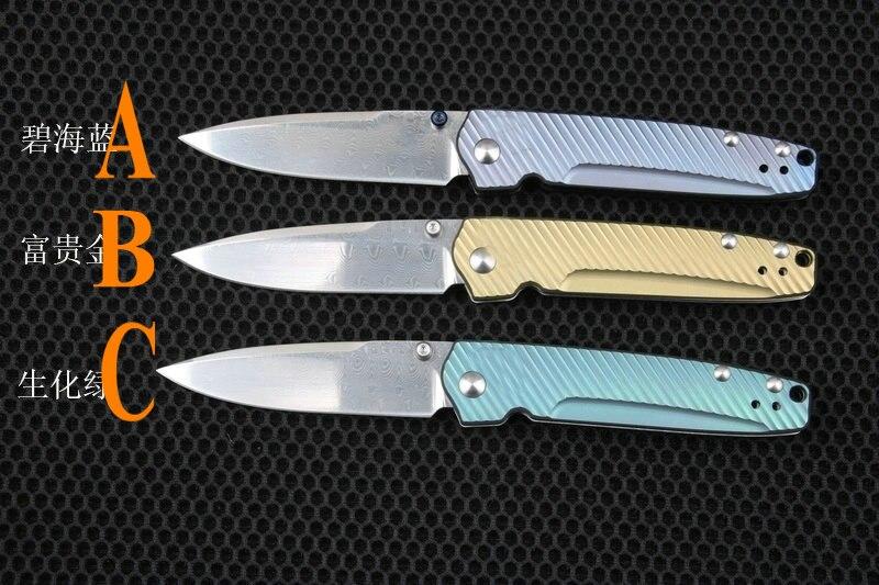Trskt Collection Pocket Knife Valet AXIS, Folding Knife Camping Survival Knives Blue-Violet Tc4 Handle (Damascus) 485-171
